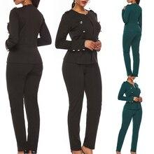 Рабочие брючные костюмы для женщин, повседневный деловой костюм из двух частей, костюмы, Блейзер, куртка, негабаритные брюки, костюм для женщин, набор Feminino