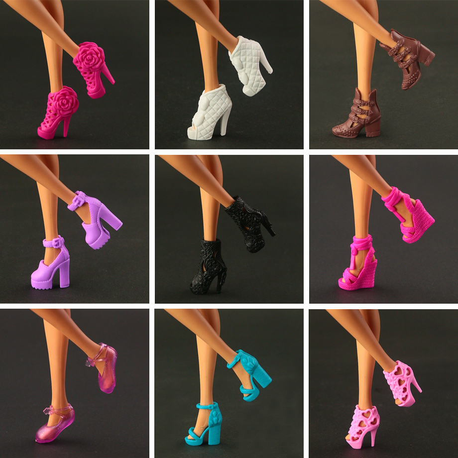 7 Pairs of Cool and Colorful Shoes Made to Fit Barbie Doll