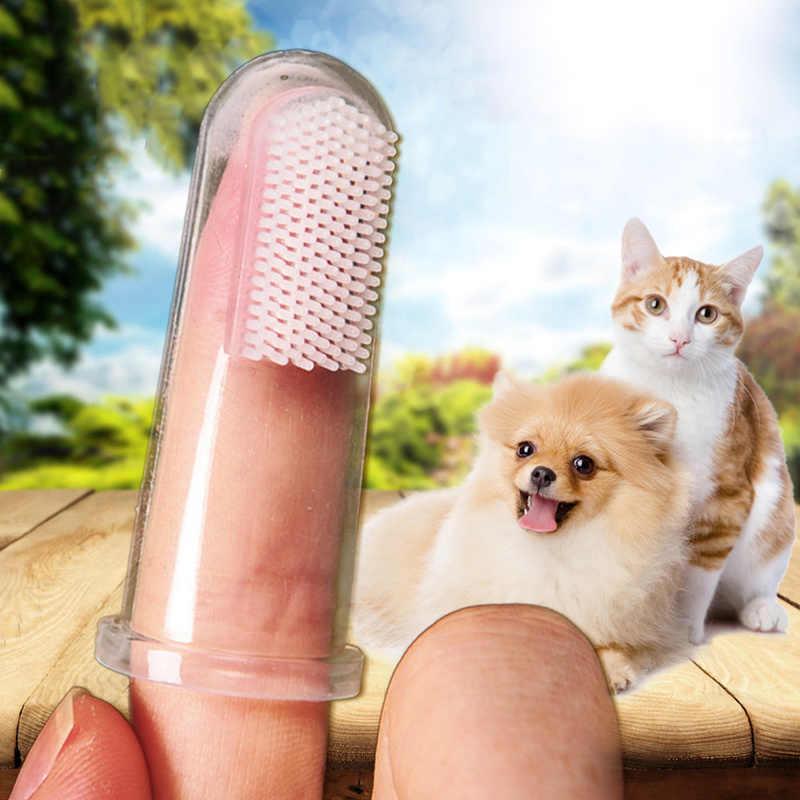 1 super suave dedo escova de dentes do cão filhote de cachorro filhote de cachorro de pelúcia brinquedo escova de dentes tártaro além de mau hálito de cuidado do cão gato materiais de limpeza