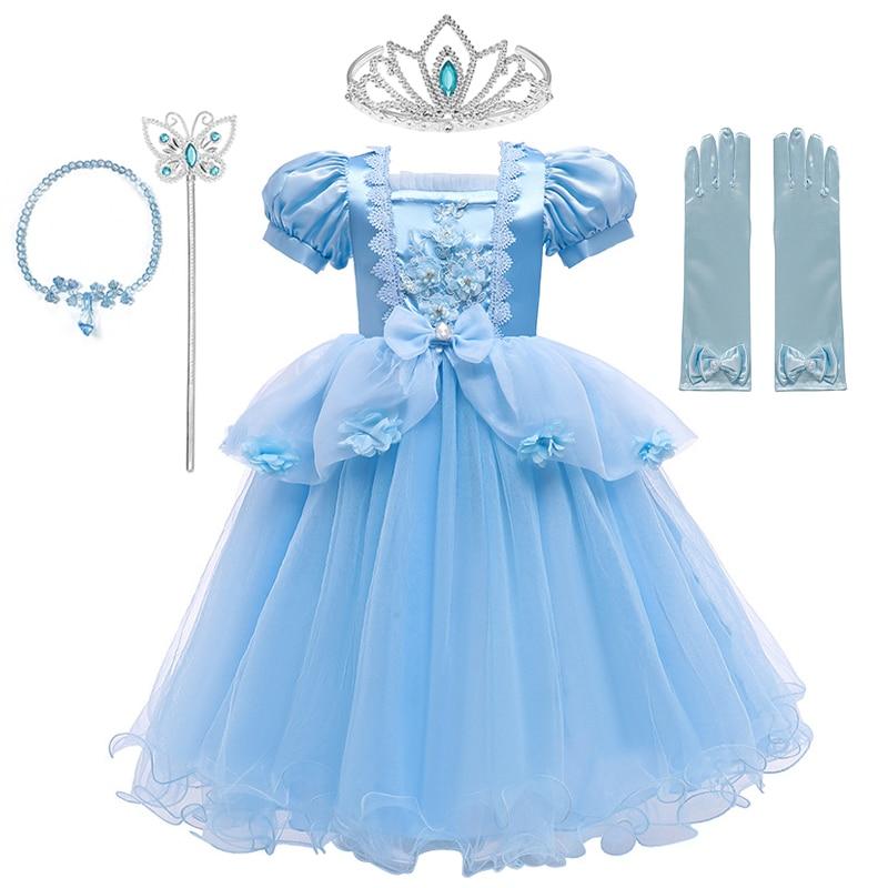 VOGUEON Luxury Cinderella Dress Girls Beading Applique Flower Princess Dresses Girl Lace Mesh Birthday Party Fancy Kids Costume 1