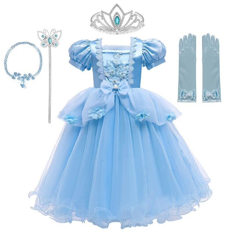 Роскошное платье Золушки VOGUEON, платье принцессы с аппликацией из бисера и цветов, вечерние кружевные сетчатые платья для девочек на день рож...
