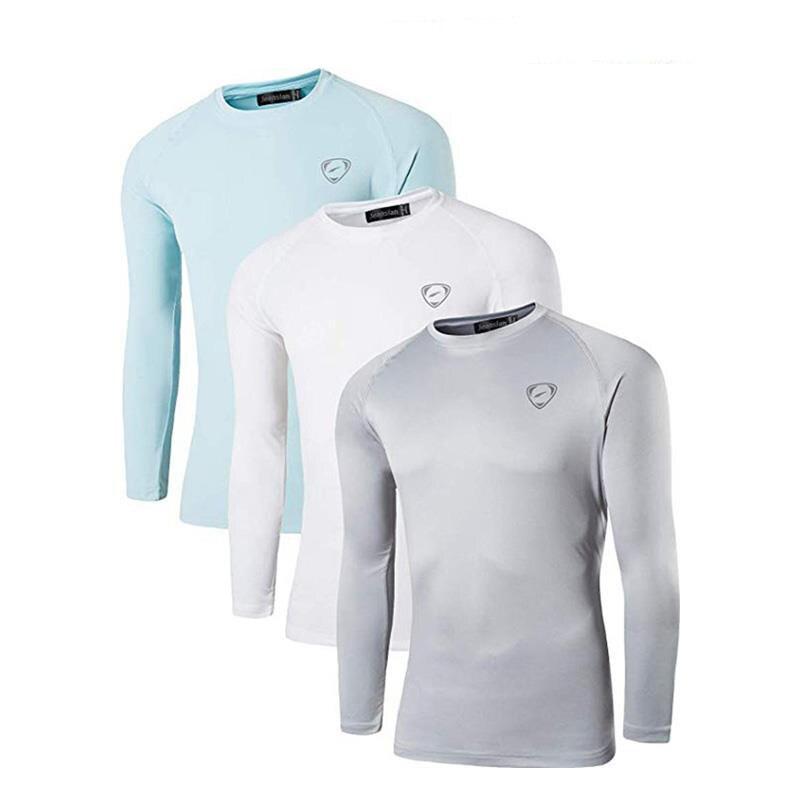 Jeansian 3 pacote upf dos homens 50 + uv proteção solar ao ar livre camisa de manga longa camiseta camiseta praia verão la245 packf