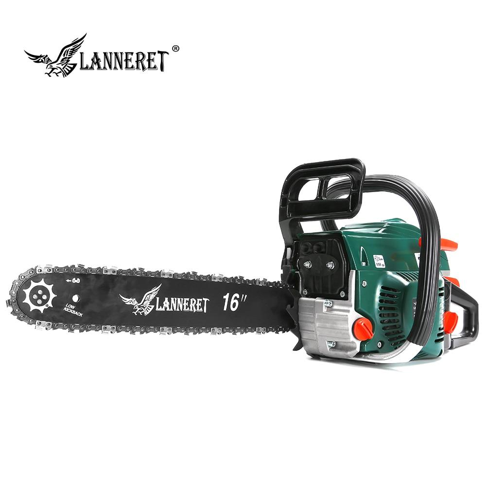 LANNERET Gasoline Chainsaw 1700W 45cc Chain Saw Wood Cutting Engine 2-Stroke Petrol With Saw Chain Garden Power Tool
