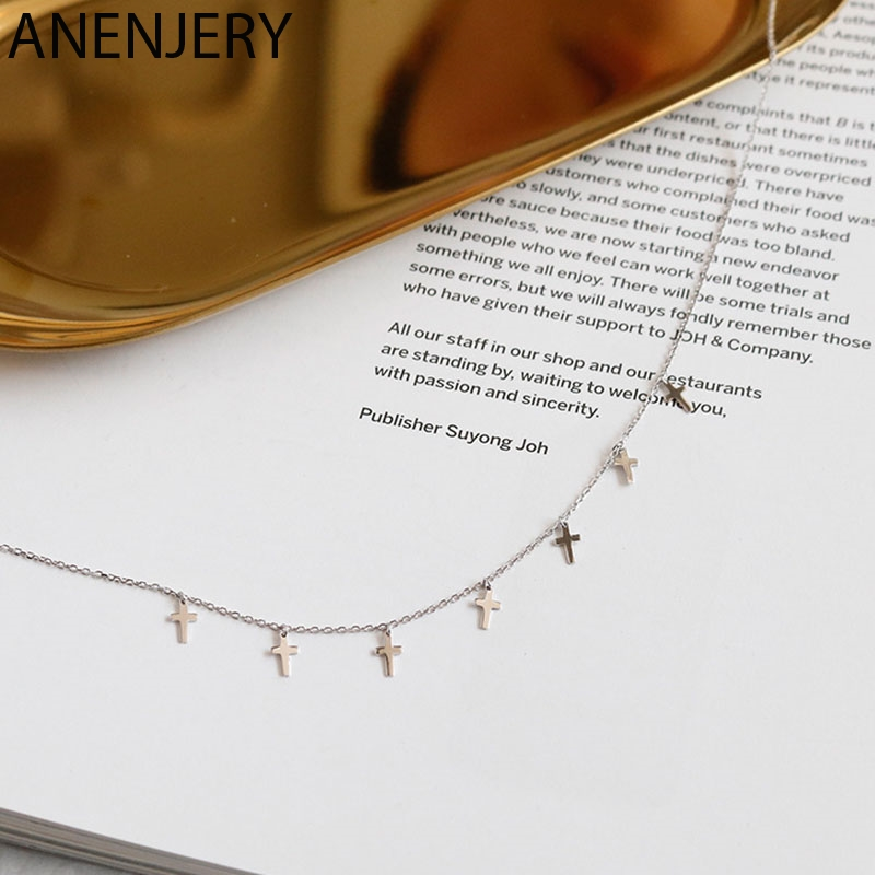 ANENJERY Simple Silver Color 7 Cross Tassel Necklaces For Women choker collares S-N452