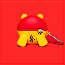 3D Winnie De Pooh Butt Case Voor Airpods Disney Cartoon Siliconen Hoofdtelefoon Grappige Leuke Bescherming Cover Shell Voor Airpod Pro 1 2