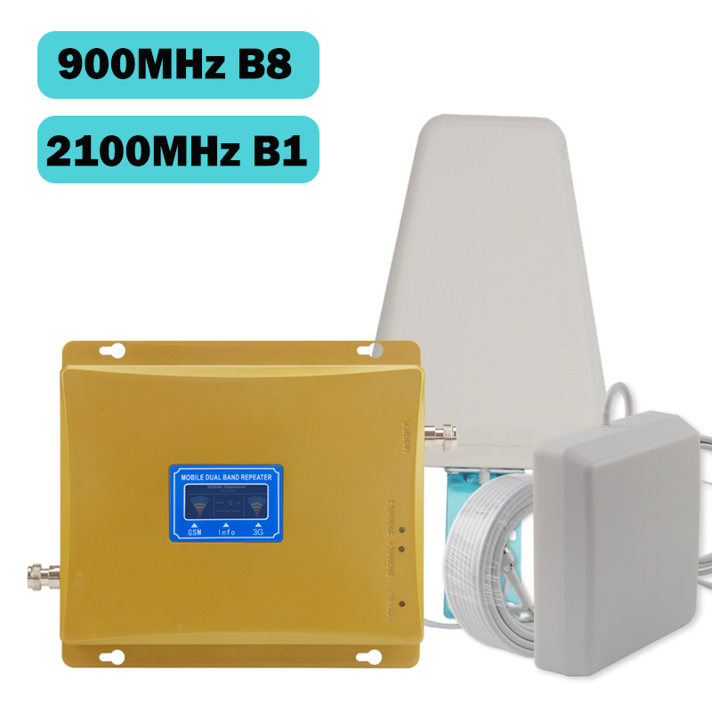 GSM Booster 3g 2100 LCD Display GSM 900mhz WCDMA 2100mhz Dual Band Signal Booster 3G Gsm Repeater 2100 Celular Amplifier Antenna in Signal Boosters from Cellphones Telecommunications