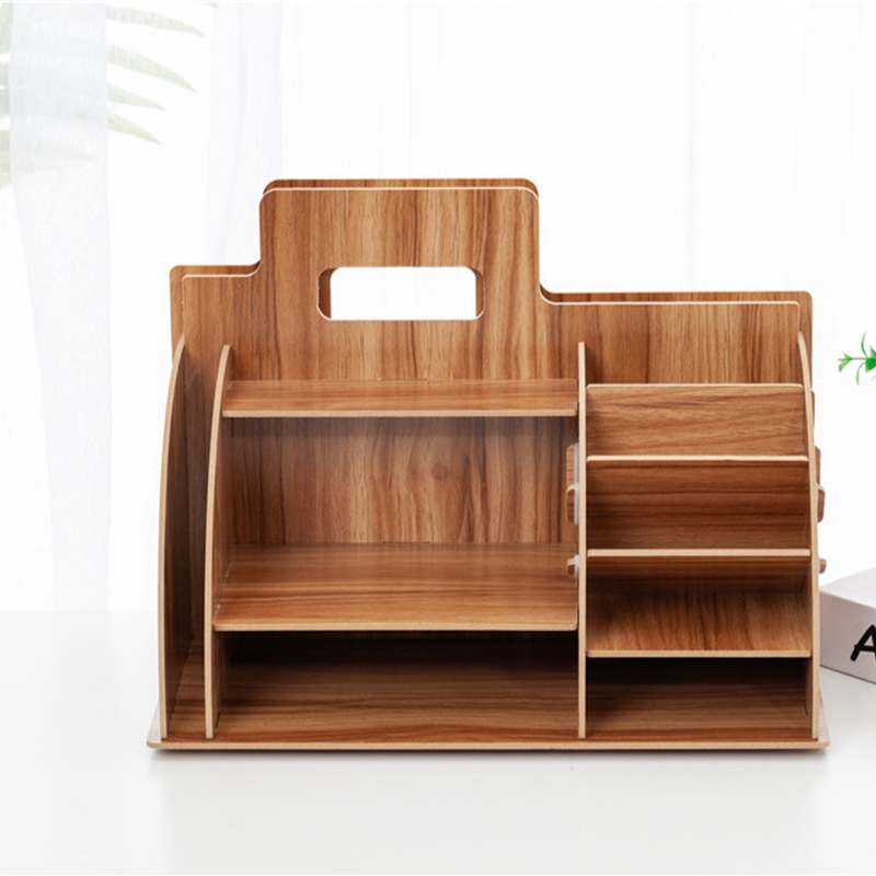 Image 5 - Wood Desk Organizer Office Bureau Pen Holder Wooden Sorter with Drawer Organizer Pen Pencil OrganizerDesk Set   -