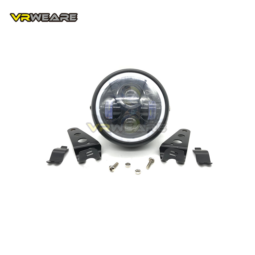 Motorcycle Retro 6.5 LED  For Harley Sportster Cafe Racer Bobber Headlight Headlamp Bracket Angel Ring Hi&Lo Beam Bulb