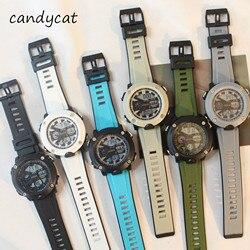 CandyCat Tide męski wodoodporny elektroniczny podwójny wszechstronny Running sport Chronograph męskie wojskowe zegarki duża tarcza Luminous