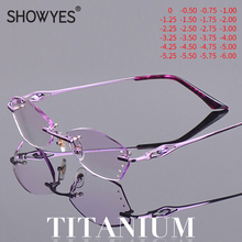 Titanium Anti Blue Light Rimless Glasses Women Myopia Ti Computer Eyeglasses Diopter Rhinestone Purple Prescription Eye Eyewear