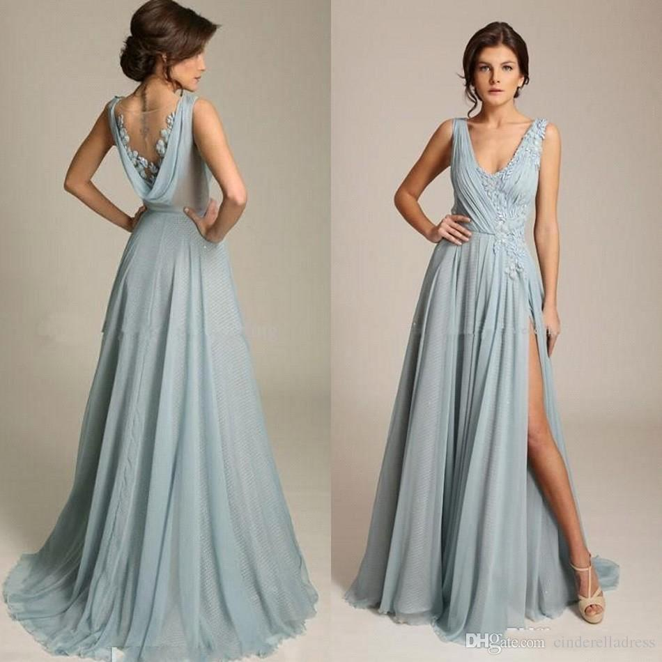 Long Dusty Blue Chiffon Bridesmaid Dresses 2020 A line Wedding Party Guest Gown Elegant Lace Applique Custom Made
