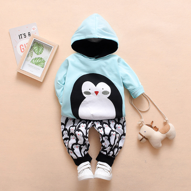 Emmababy Autumn Boy Set Long Sleeve Penguin Print Boy Hoodies + Pants Toddler Suit Fashion Boys Clothing
