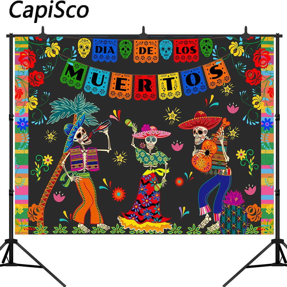 Capisco DE Día DE Muertos Fondo mexicana azúcar cráneo fotografía Fondo Dia DE Los Muertos-vestido DE Fiesta banner