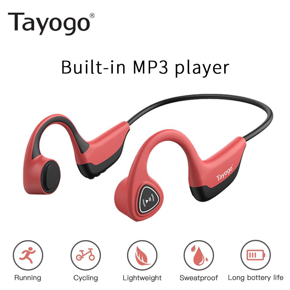 Tayogo S3 Fashion Bone Conduction Mp3 Player For Sports Wireless Headset MP3 Sweatproof Player Ear-hook HIFI Earphone With Mic