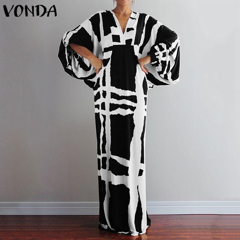 VONDA Women Long Maxi Dress Women's Sexy V Neck Long Sleeve Shirt Dresses Femme Sundress Casual Loose Bohemian Vestido Robe 5XL
