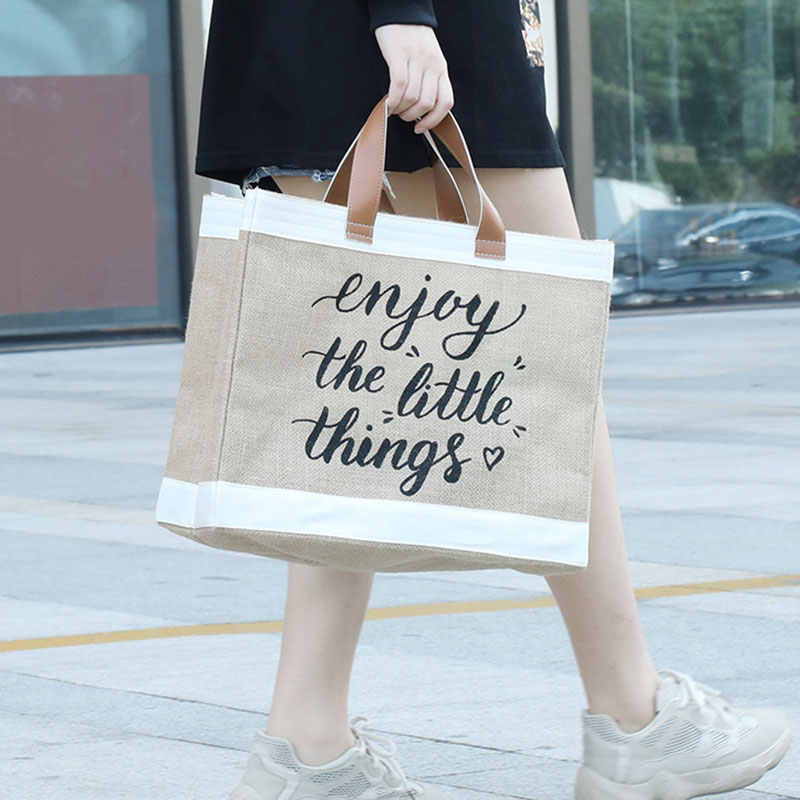 Women Linen Tote Large Capacity Female Casual Shoulder Bag Daily Reusable Shopping Bag Fresh Splicing Letters Foldable Handbag