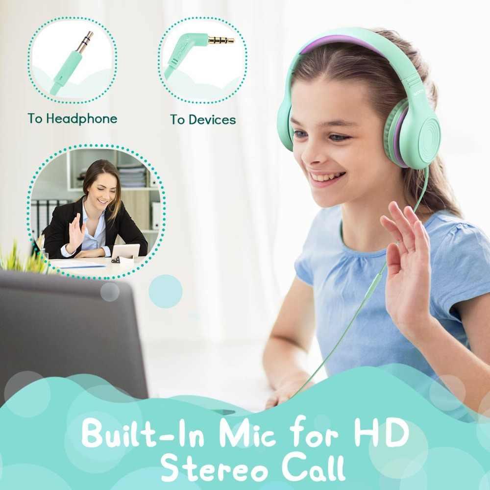 Mpow CH6 เด็กหูฟัง 85dB ป้องกันหูฟังเด็กชุดหูฟังปรับแบบมีสายหูฟังพร้อมไมโครโฟนสำหรับ PC/ แล็ปท็อป