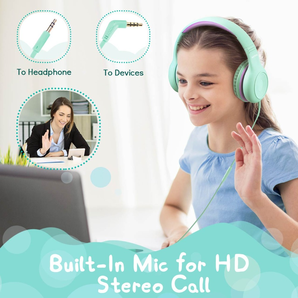 Mpow CH6 Kids Headphones 85dB Hearing Protection Over Ear Kid Headset Foldable Adjustable Wired Headphone with Mic For PC Laptop in Phone Earphones Headphones from Consumer Electronics