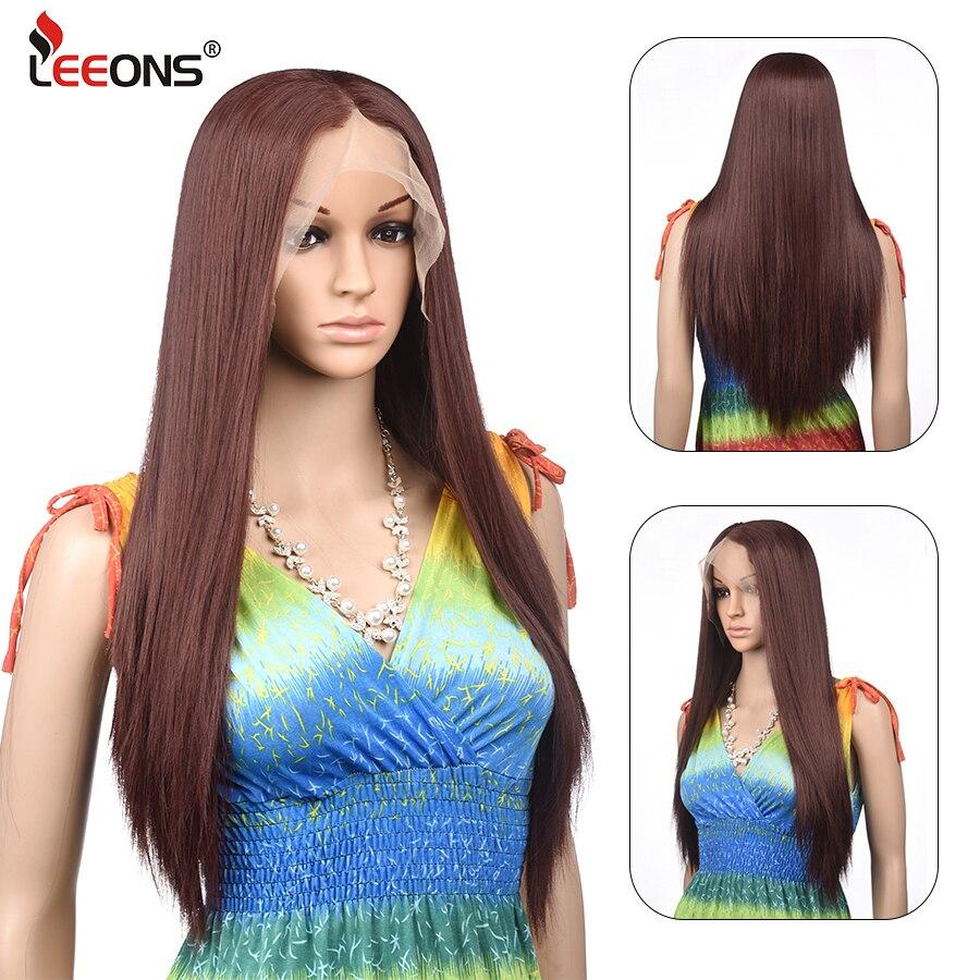 Leeons fabrika satış 20 stilleri ipeksi düz dantel ön sentetik peruk 16-28
