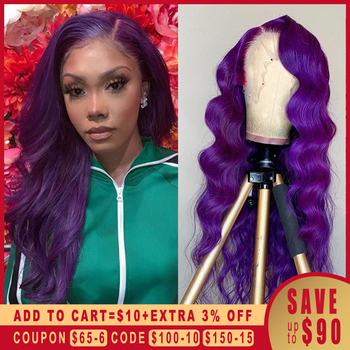 13x6 Deep Part Lace Front Colored Human Hair Wigs Purple Body Wave Wig HD Transparent PrePlucked Brazilian Remy For Black Women