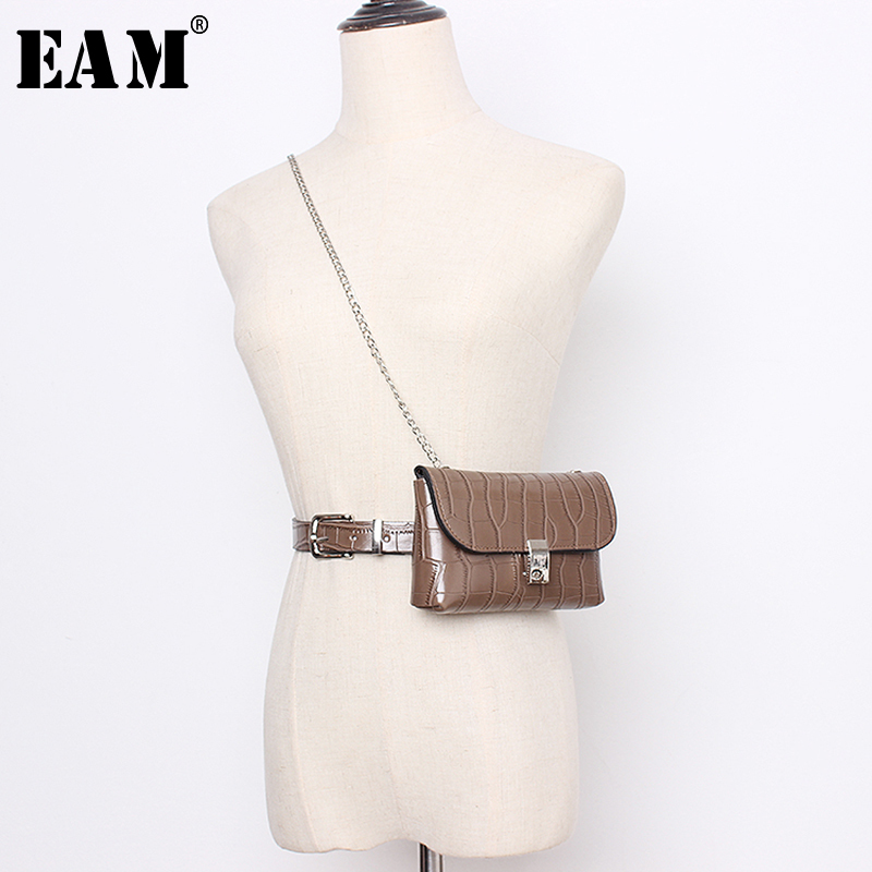 [EAM]  Pu Leather Chain Split Joint Mini-bag Long Wide Belt Personality Women New Fashion Tide All-match Spring 2020 1N947