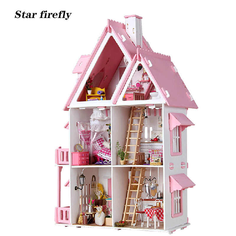 Star firefly big size dollhouse Alice Castle Wooden doll house villa Miniature DIY dollhouse 1:12 Toy For Valentine Day present