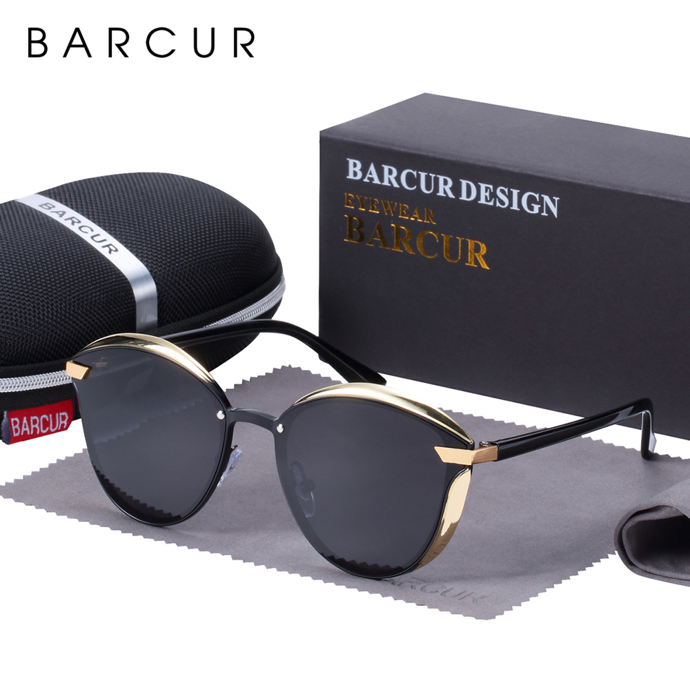 BARCUR Fashion Polarized Women Sunglasses Round Sun Glass Ladies Lunette De Soleil Femme