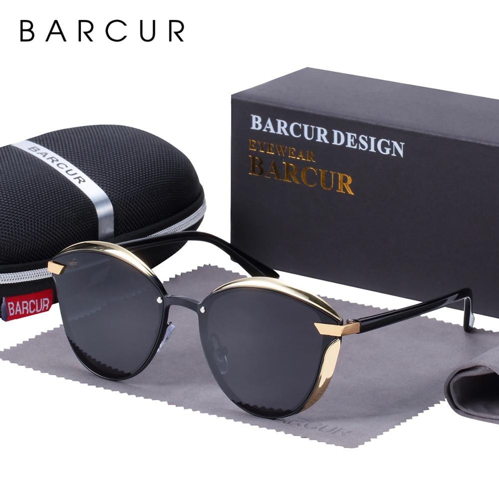 BARCUR moda spolaryzowane okulary damskie okrągły szkło słońce damskie