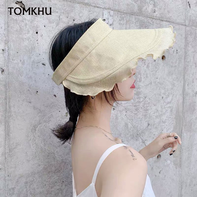TOMKHU New Sun Hats For Women Summer Cotton Linen Hat Visor Casual Wide Brimmed Floppy Foldable Solid Summer Anti-UV Beach Hat