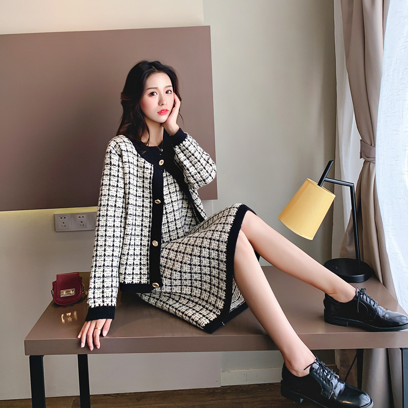 Autum New Women's Two-piece Loose Knitted Sweater Skirt Two Pieces Suit Lady Knitting Sweater 2PCS Set