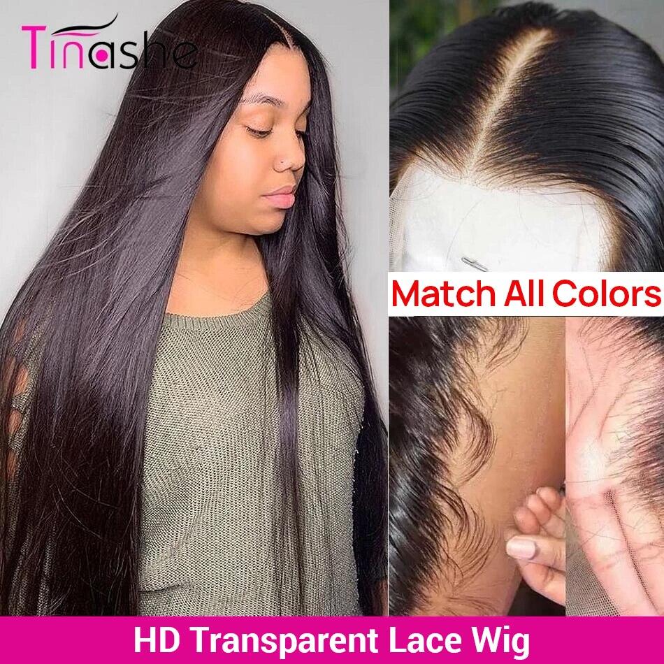 Perruque Lace Frontal Wig brésilienne Remy lisse – Tinashe, cheveux naturels, 13x6, 30 pouces, Lace Transparent Hd