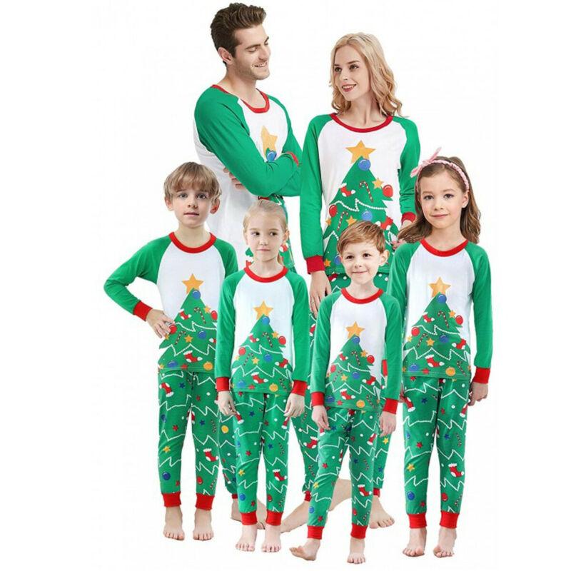 Christmas Family Matching Pyjamas Set Women Men Kid Long Sleeve Xmas Green Xmas Tree Sleepwear Nightwear