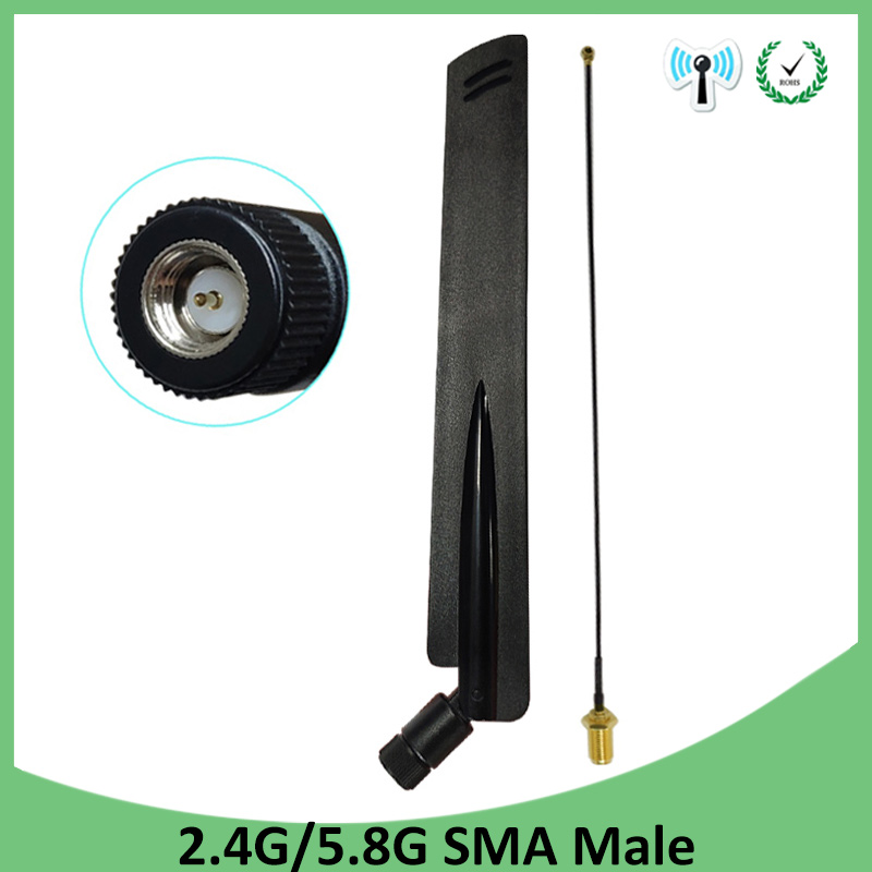 2.4GHz 5GHz 5.8Ghz Wifi Antenna 2.4 Ghz 8dBi SMA Male Connector Wi Fi 2.4G 5G 5.8G Antena + 21cm RP-SMA Male Pigtail Cable