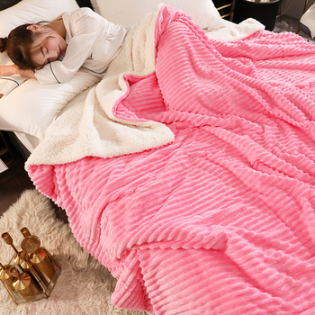 Double-sided Thicken Warm Coral Velvet Throw Blanket Stripe Texture Solid Color Flannel Cashmere Blanket Travel Airplane Cover