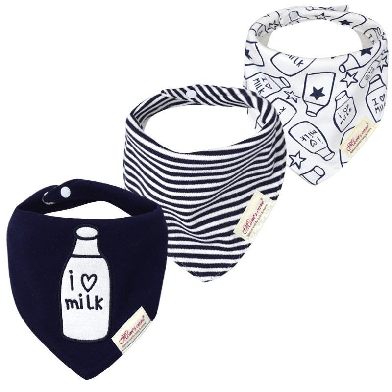 3pcs Per Lot  Baby Bibs Bandana Set Cotton Multi Style Triangle Cartoon Babadores Para Bebe Infant Boys Girls Saliva Towel KF025