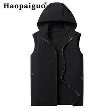 Plus Size XXXXL Black Men Hooded Waistcoat Zipper Pocket Gilet Casual Cotton Vest 2019 Autumn Brand Male Sleeveless Jacket