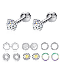 Luxury Crystal Zircon Stud Earrings 925 Sterling Silver Tree Of Life Round Heart Earrings for Women Jewelry Female Brincos(China)