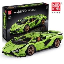 13057 Techinc 1:8 Lamborghinii Sian FKP 37 RC araba modeli yapı taşları yetişkinler için spor araba çocuk oyuncakları hediye