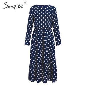 Image 3 - Simplee אלגנטי פולקה נקודות מקסי שמלה בוהמי אונליין o צוואר ארוך שמלת המפלגה שמלת עבודה ללבוש שיק סתיו ארוך שמלות הערב