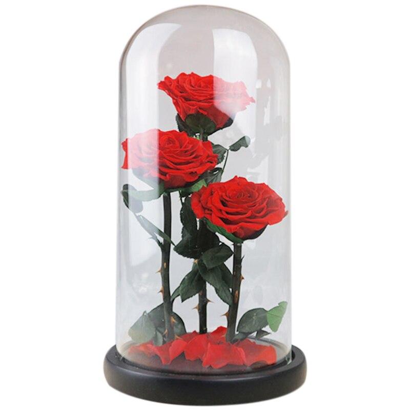 TOP!-Ewige Blumen Getrocknete Blumen Erhalten Frische Blume Live Rose Glas Dome Geschenk Box