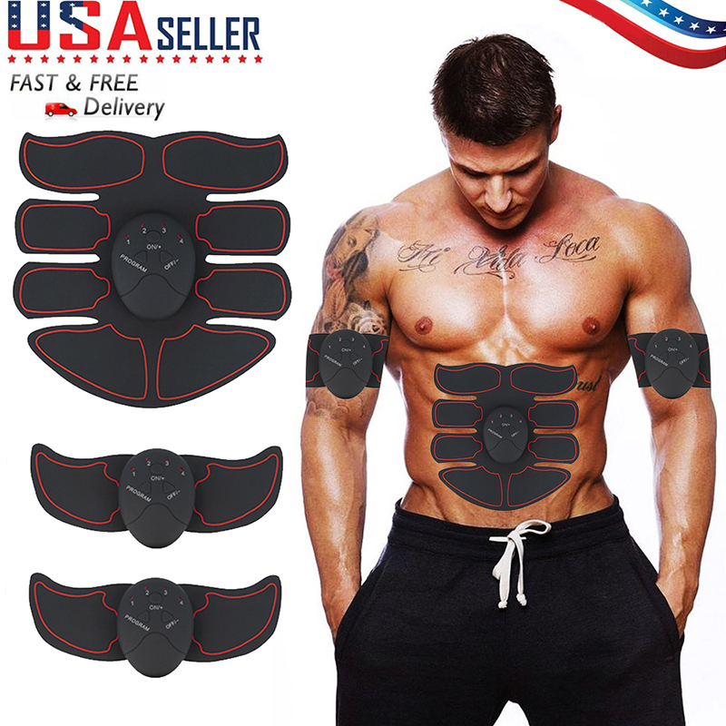 Smart Muscle Stimulator EMS Abdominal Electric Trainer Body Building Fitness for Abdomen/Arm/Hip Training ABS Exercise Set image