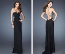 Женское вечернее платье с открытой спиной Черное длинное для