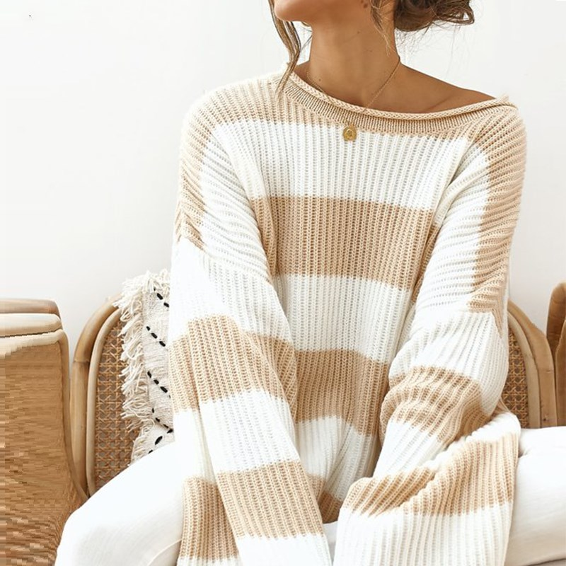 Oversized Striped Sweater Women Winter 2019 Casual O Neck Batwing Sleeve Loose Pullover Knitted Women's Sweater Ladies Jumper