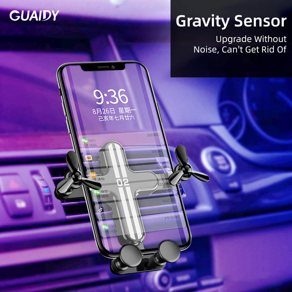Airplane Cartoon Cute Car Phone Holder Gravity Mini Portable Silicone Plug For iPhone Huawei Triangle Fixed Degree Adjustment image