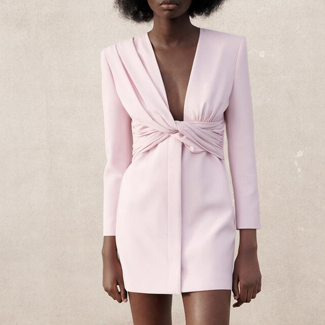 CP Long Sleeve Collected Waisted Dresses Women Fashion Casual V Neck Dress Women Elegant Mini Dresses Female Ladies 1