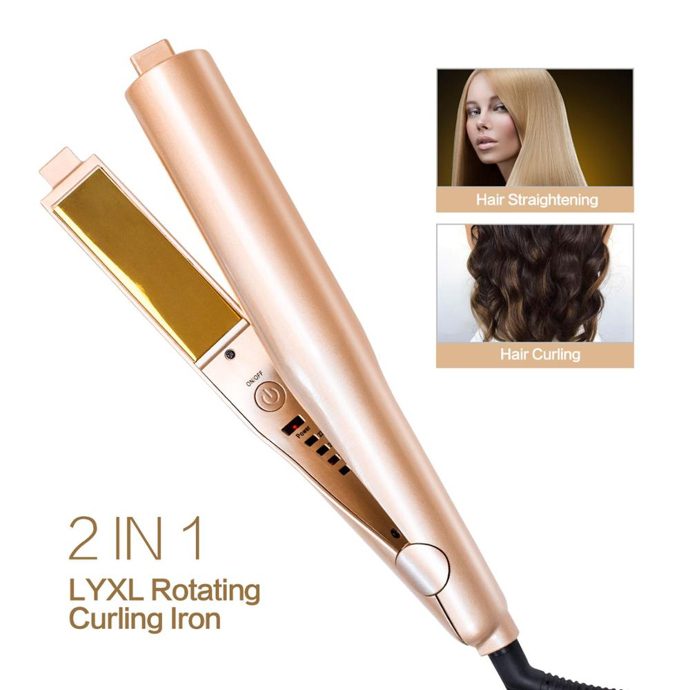 Curling Iron Hair Curler 2 In 1 Gold Twist Hair Curling Straightening Flat Iron Hair Straightener Curling Wand Hair Crimper Curling Irons Aliexpress