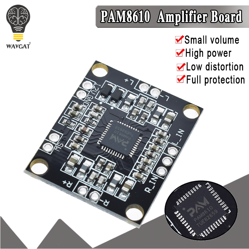WAVGAT PAM8610 Digital Power Amplifier Board 2 X15w Dual Channel Stereo Mini Class D Power Amplifier Board