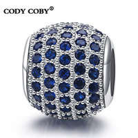 Fashion Blue Crystal Charms beads fit PandoraBracelet Unique 925 Sterling Silver Original Jewelry for Women pulsera