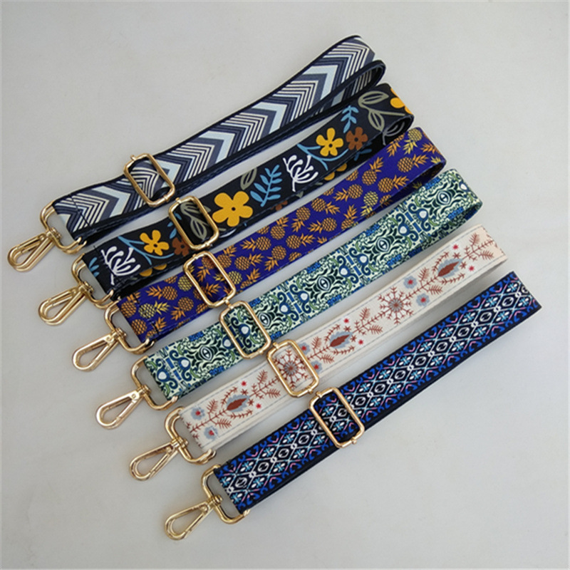 Women Colorful Bag Strap Belt Flower Replacement Wide Straps For Crossbody Bag Accessories Messenger Shoulder Strap For Bags