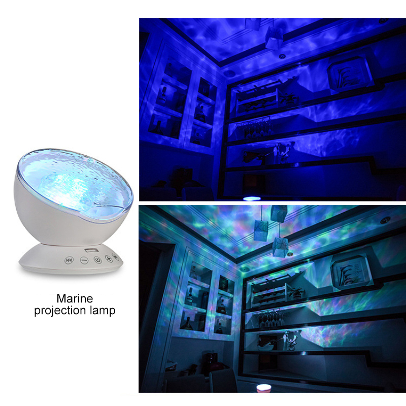 Ocean Wave Projector 12 LED Remote Control Undersea Projector Lamp,7 Color Changing Music Player Night Light Projector For Kids